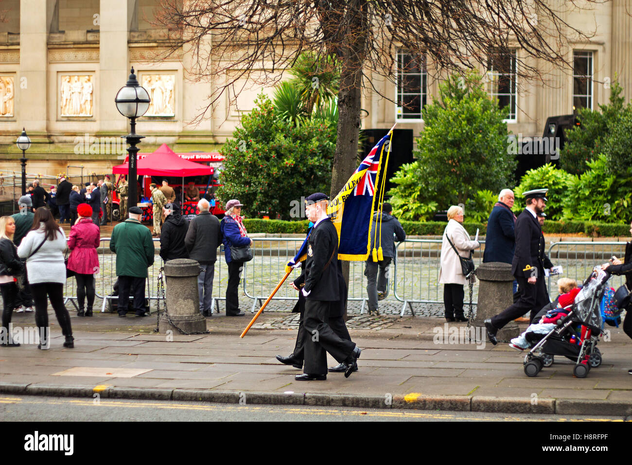 Preparing for the annual Remembrance Day Parade in Liverpool UK - Stock Image