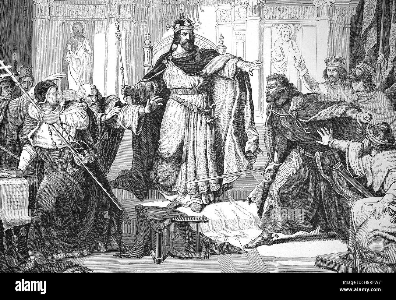 Otto I., called the Redhead, was Duke of Bavaria from 1180 until his death, with the Papal legates - Stock Image