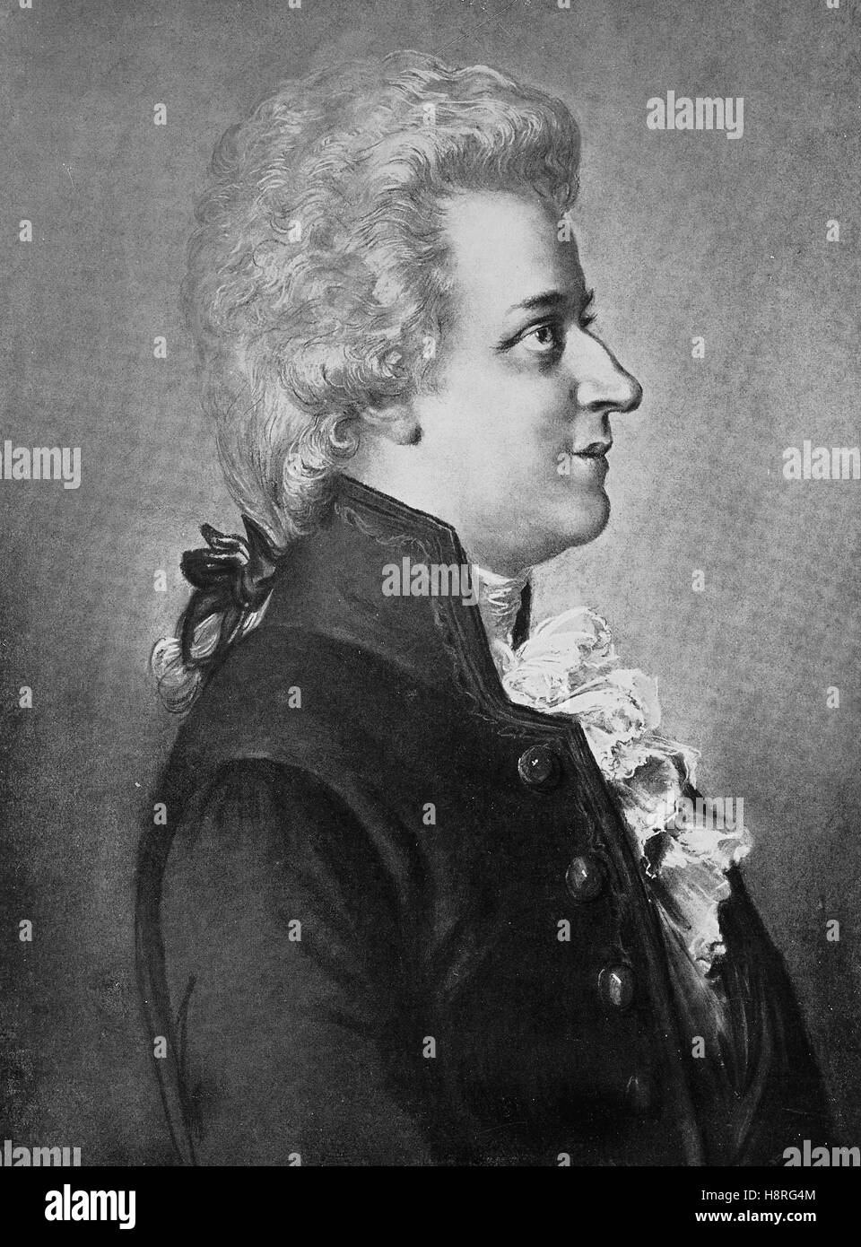 Wolfgang Amadeus Mozart, baptised as Johannes Chrysostomus Wolfgangus Theophilus Mozart, was a prolific and influential - Stock Image