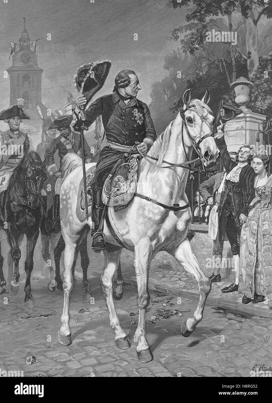 Frederick II., Friedrich, was King of Prussia from 1740 until 1786, here he is visiting the city of Krefeld in the - Stock Image