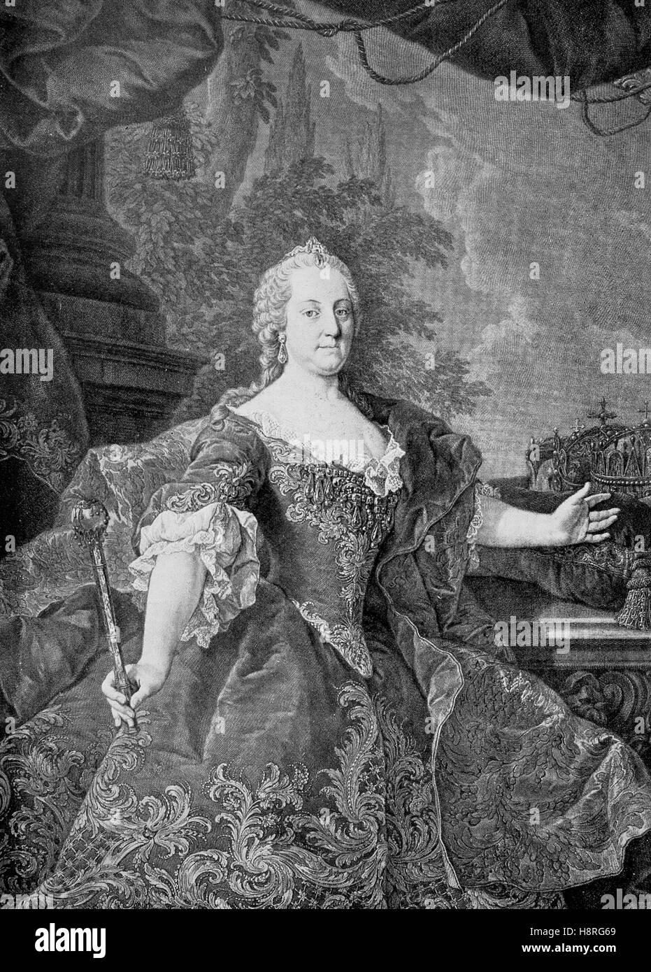Maria Theresa Walburga Amalia Christina, Maria Theresia, was the only female ruler of the Habsburg dominions and - Stock Image