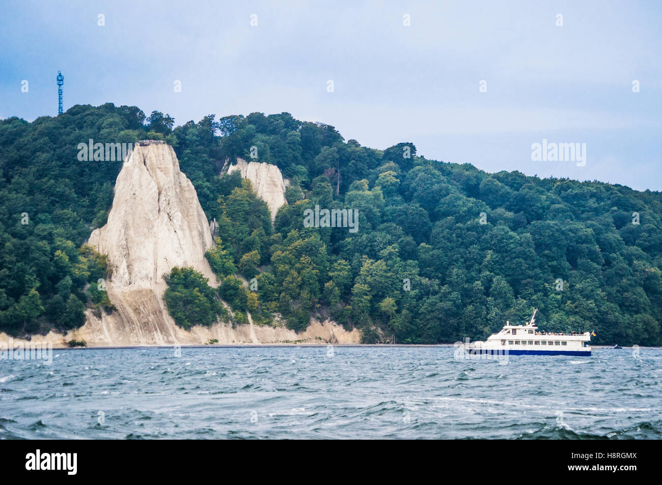 view of the impressive Königsstuhl (King's Chair) cliff face seen from the Baltic Sea, Mecklenburg Vorpommern, - Stock Image