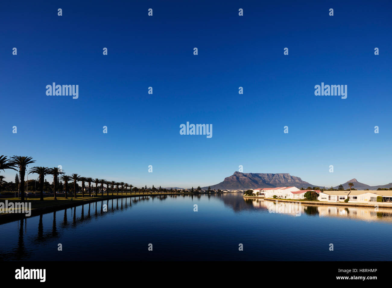 South Africa, Western Cape, Cape Town, Table Mountain and Milnerton Vlei - Stock Image