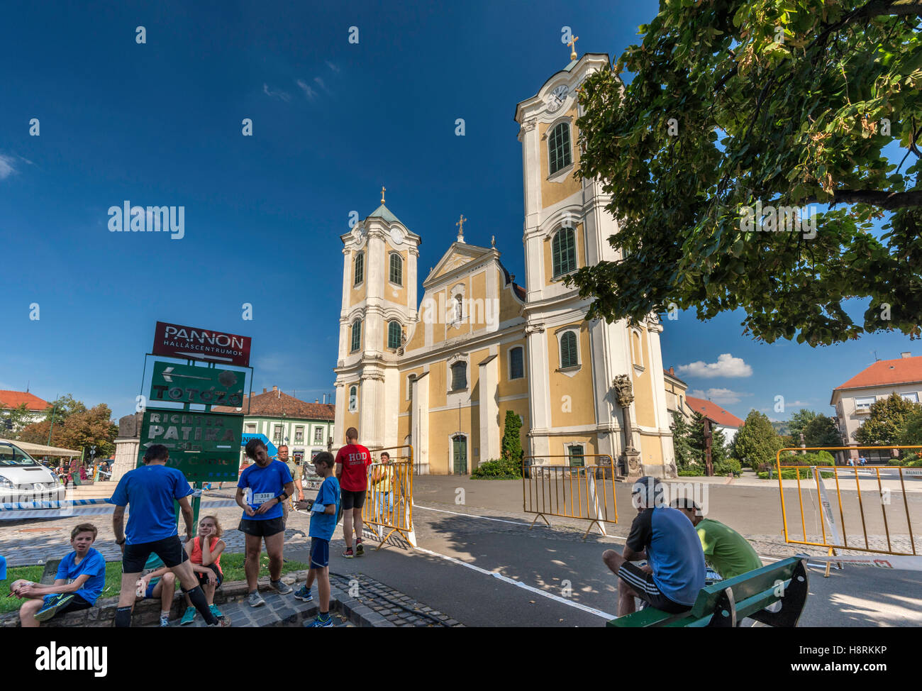 Saint Bartholomew Church, Baroque style, in Gyongyos, Hungary - Stock Image
