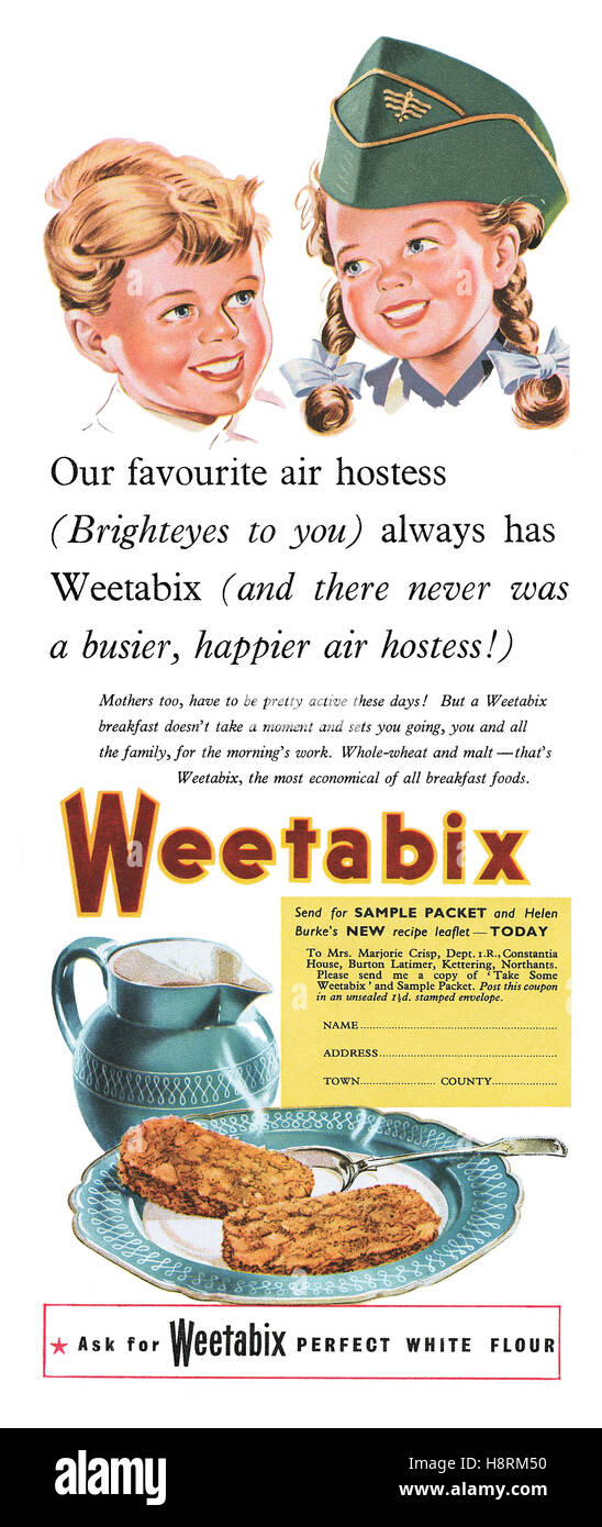 1953 British colour advertisement for Weetabix breakfast cereal - Stock Image