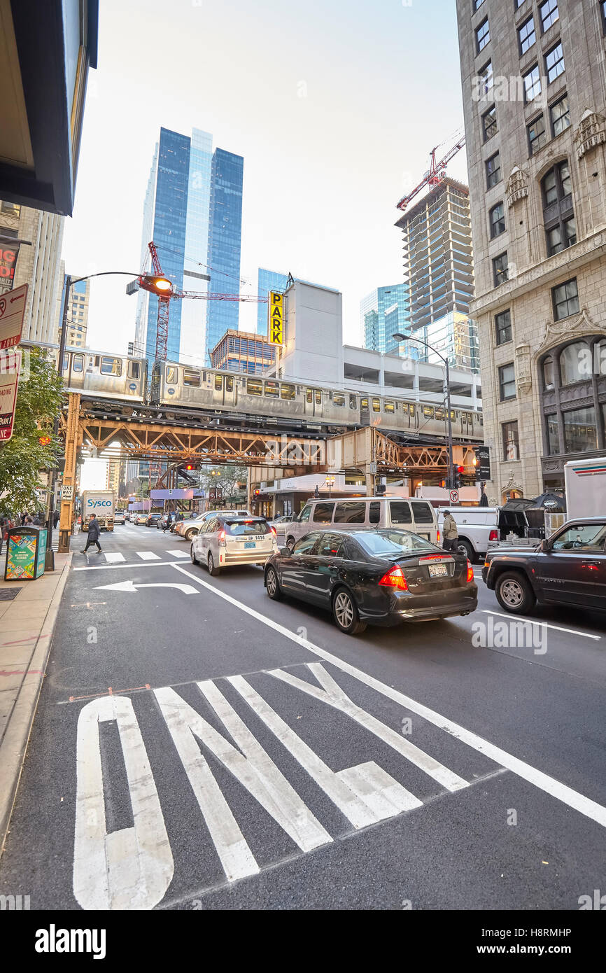 Chicago, USA - October 13, 2016: Rush hour traffic on busy street in Chicago, the third most populous city in the - Stock Image