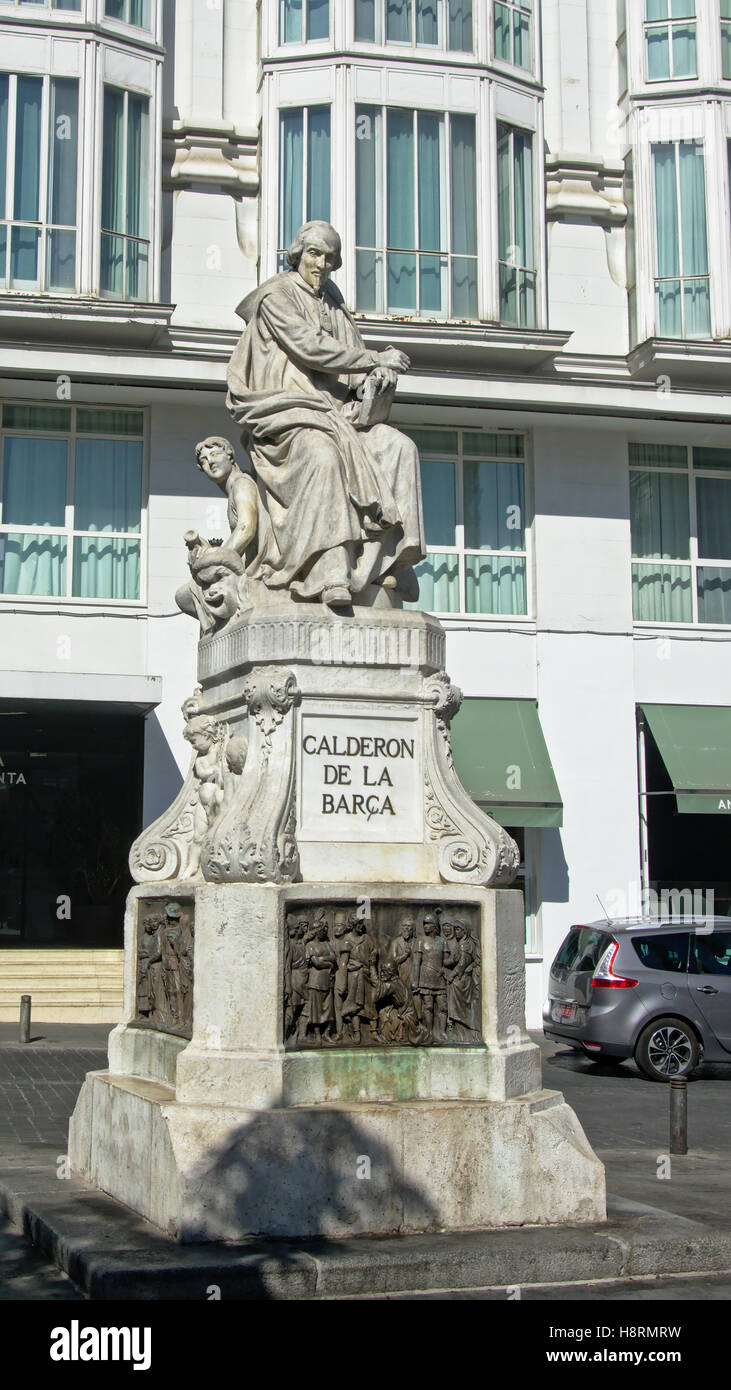 Statue of  Spanish dramatist, poet and writer Pedro Calderón de la Barca  by Joan Figueras Vila on Plaza de - Stock Image