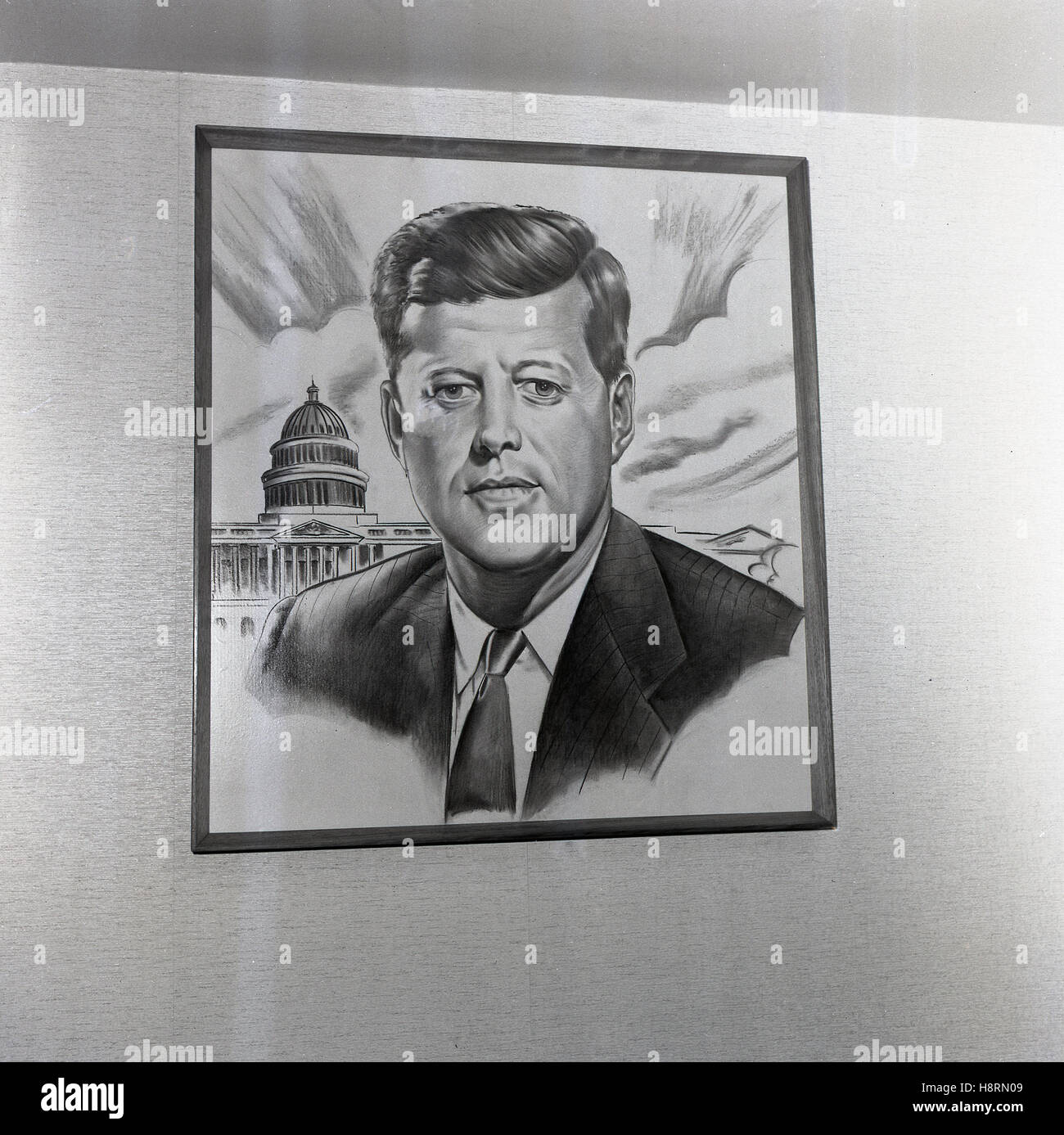 1965 historical, pencil drawing on the wall of the 35th American President, John F. Kennedy in front of the Capitol, - Stock Image