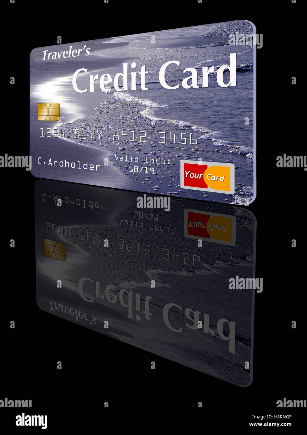 This is a photo illustration of a safe to publish credit card (generic) with the theme of travel and a beach scene - Stock Image