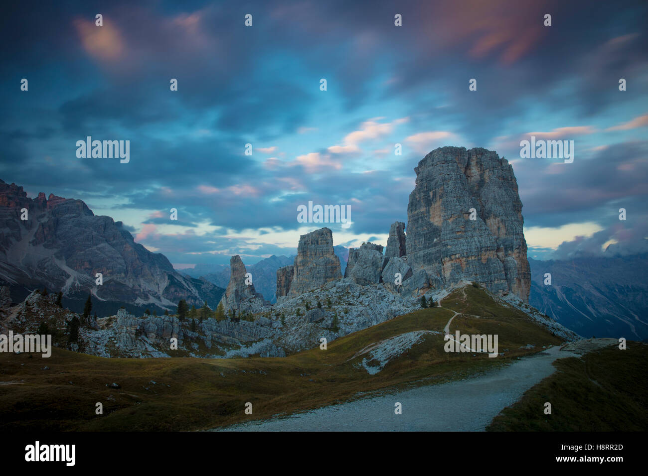 Twilight over the Cinque Torri, Dolomite Mountains, Belluno, Veneto, Italy - Stock Image