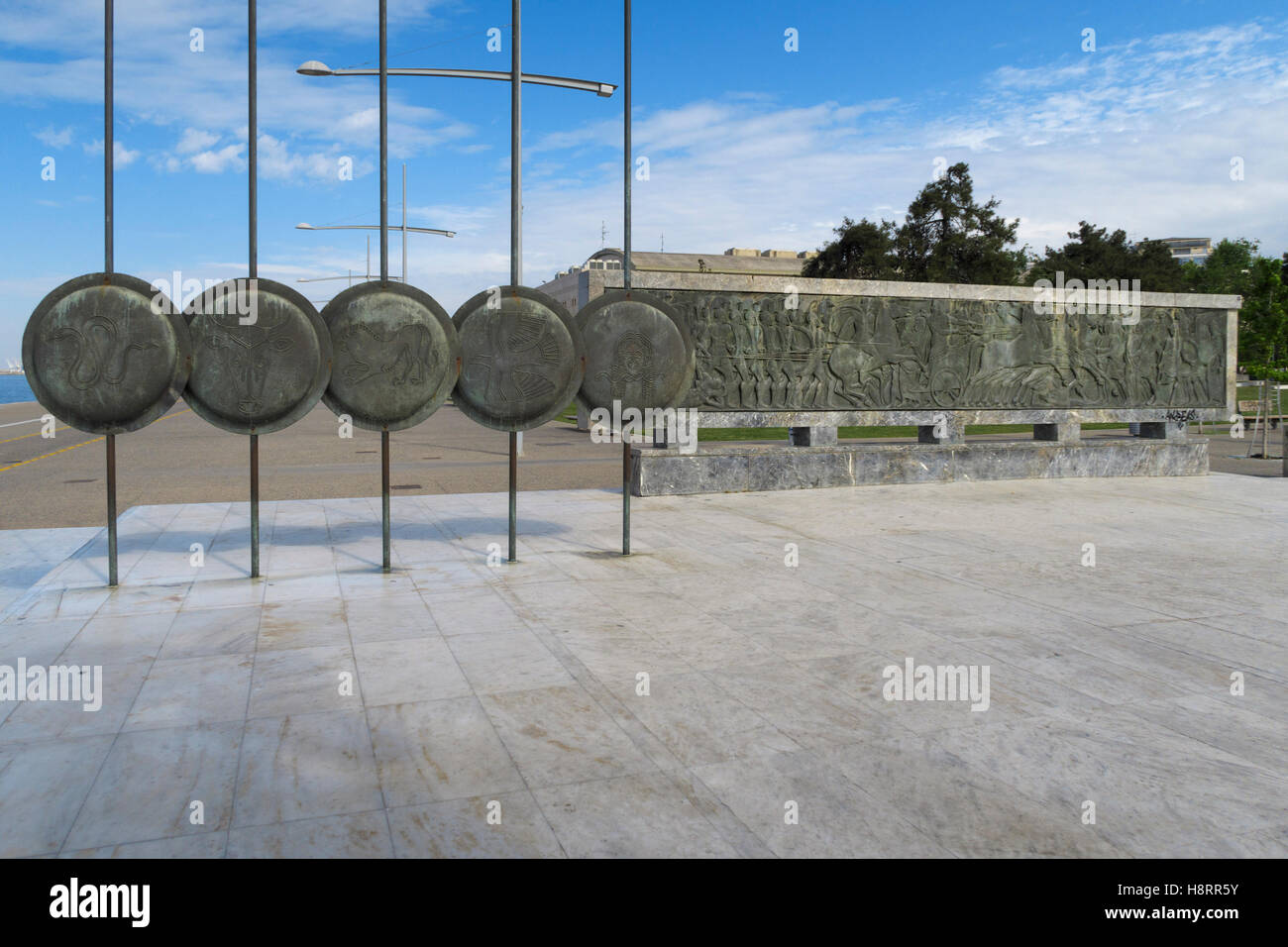 Macedonian shields on the Monument of Alexander The Great in Thessaloniki, Greece, Europe - Stock Image