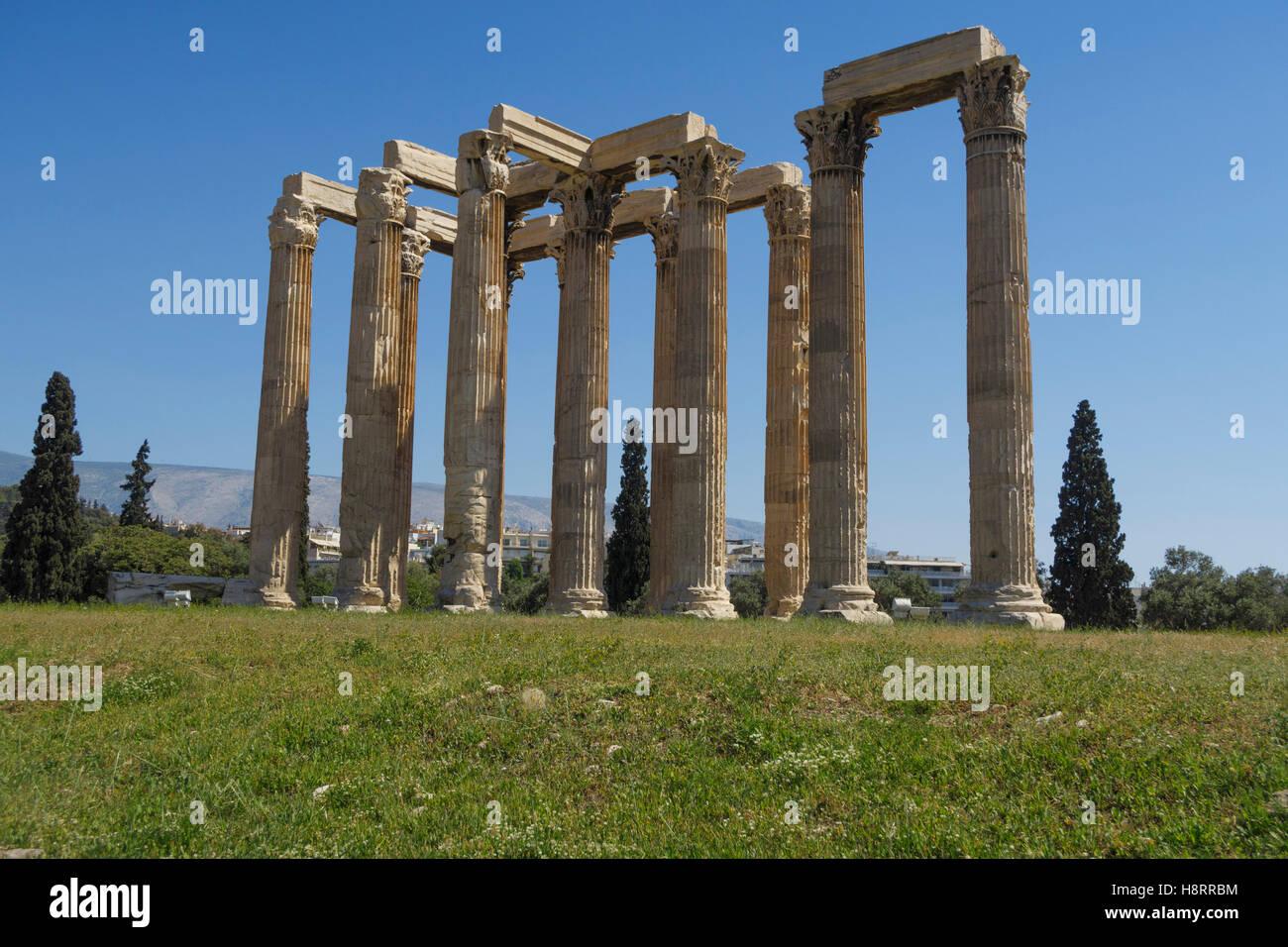 Temple of Olympian Zeus, Athens, Greece - Stock Image