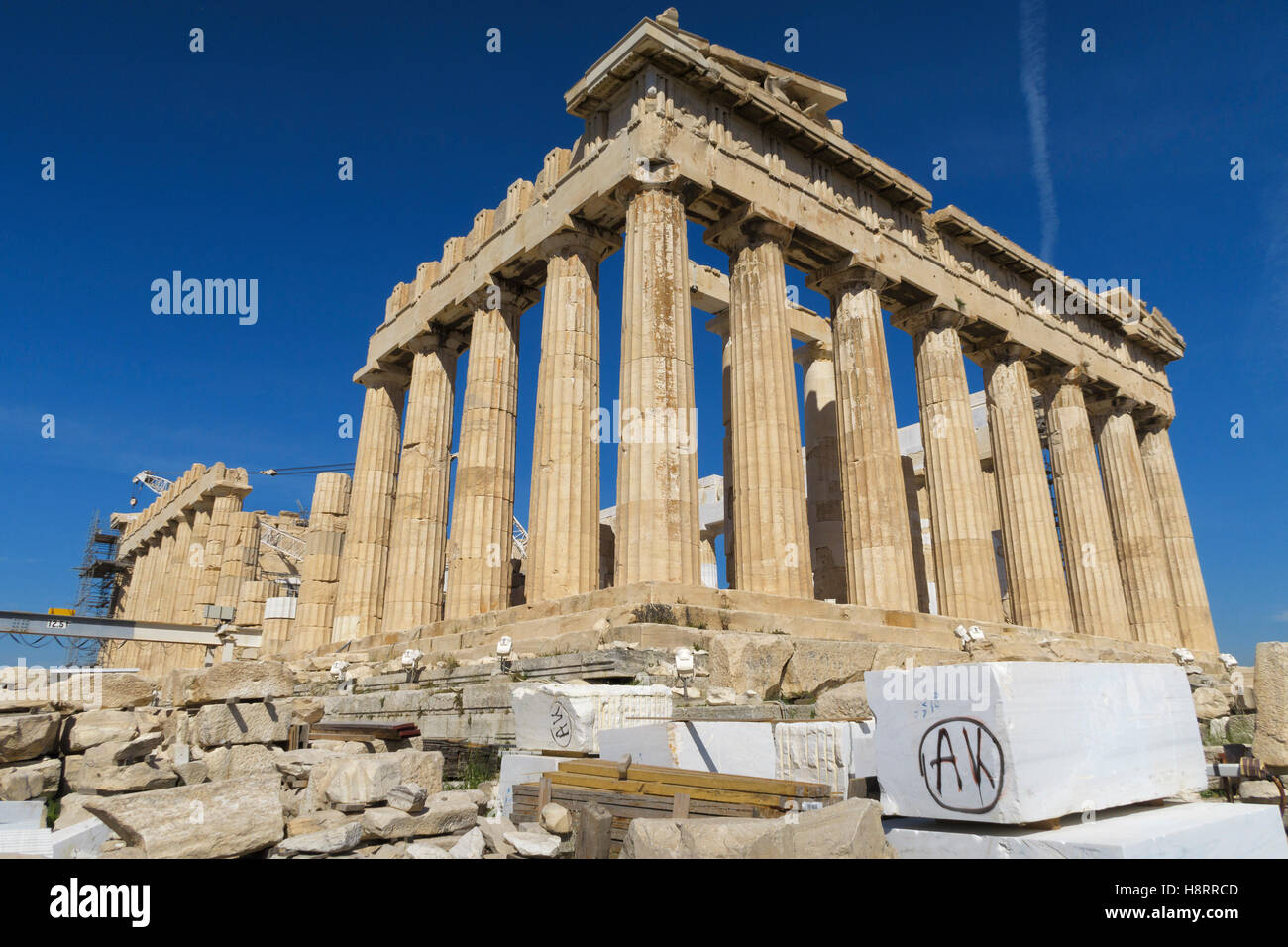 Parthenon at the Acropolis of Athens, Greece - Stock Image