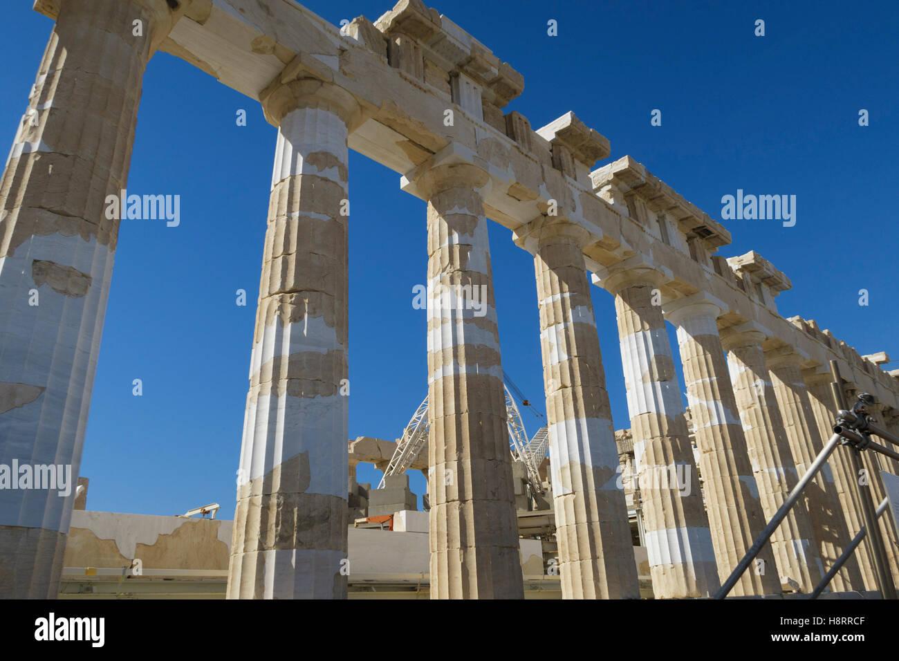Parthenon at the Acropolis of Athens, Greece - Stock Image