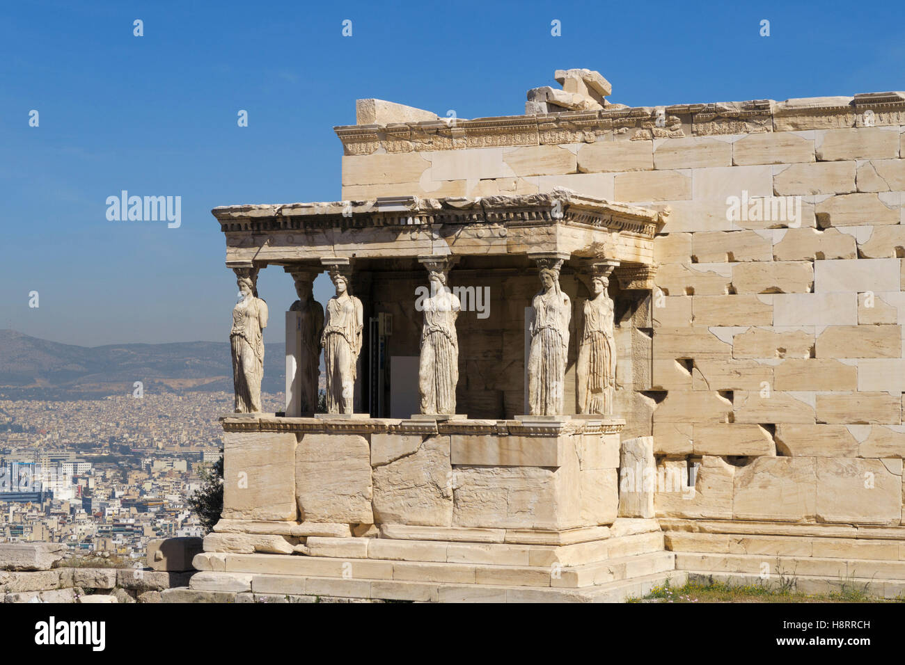 Porch of the Caryatids at the Erechtheion temple, Acropolis, Athens, Greece - Stock Image