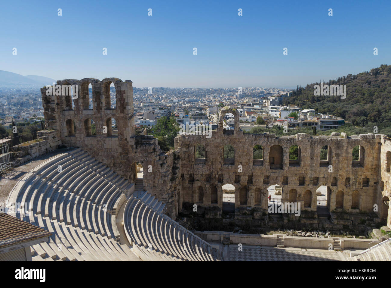 Odeon of Herodes Atticus, Acropolis, Athens, Greece - Stock Image