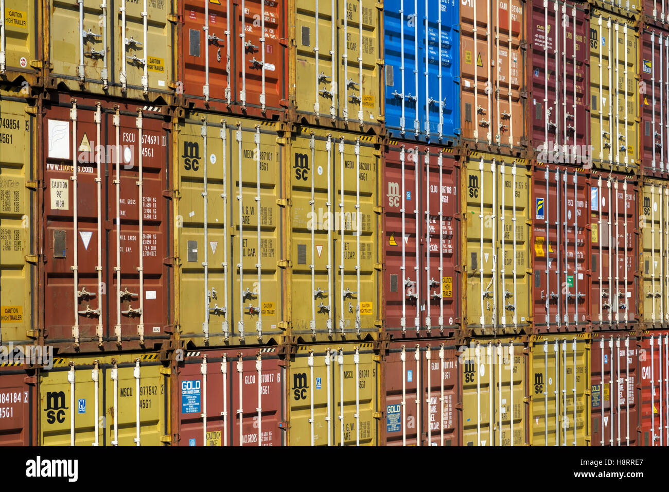 Stacks of shipping containers in Leixões port, Matosinhos, Portugal, Europe - Stock Image