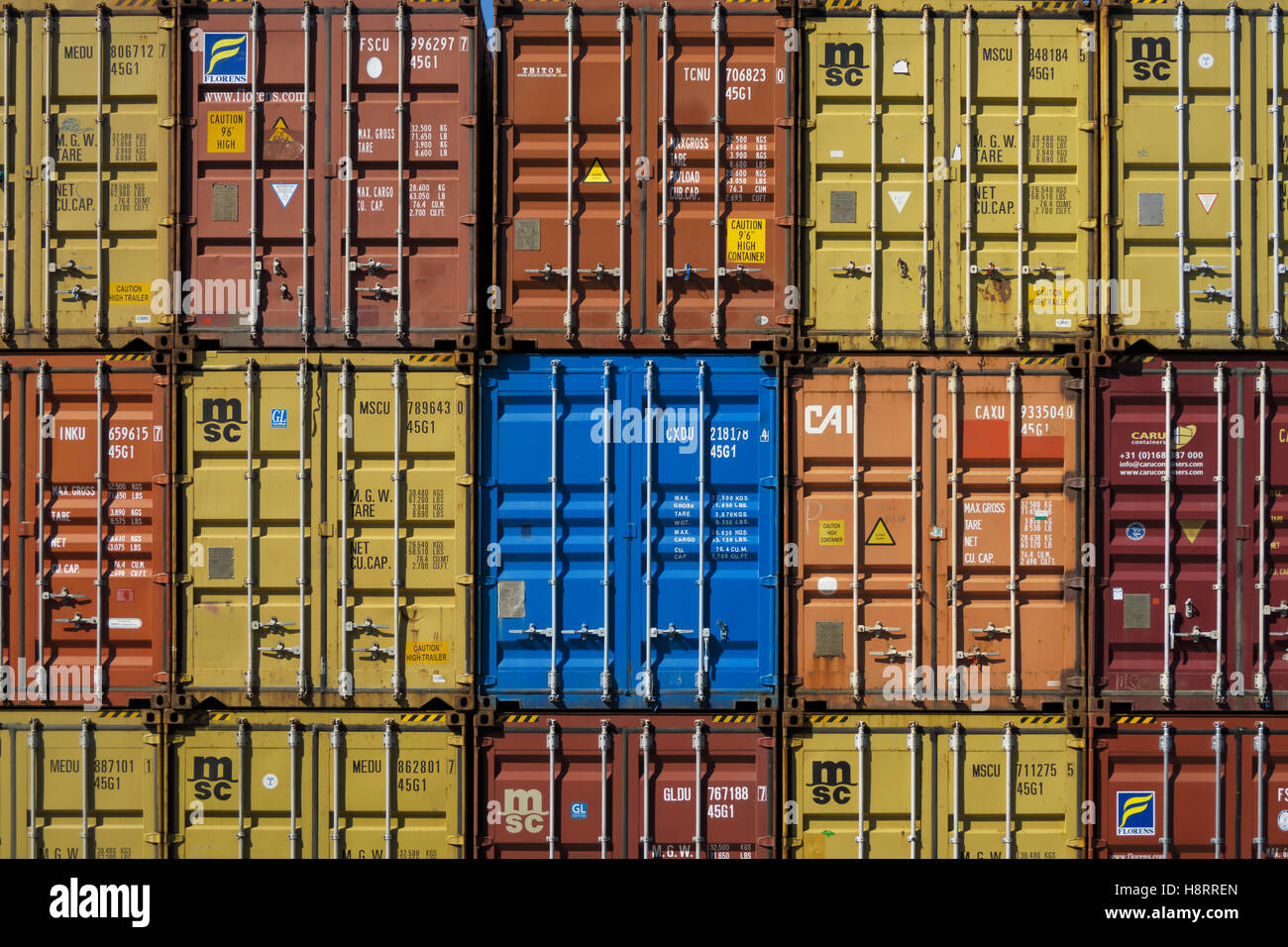 Stacks of shipping containers in Leixões port, Matosinhos, Portugal, Europe Stock Photo