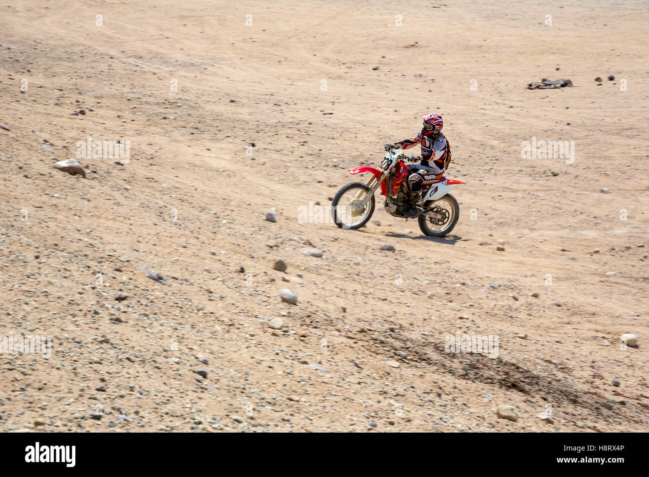 Cantil, California - A dirt bike rider in Jawbone Canyon. - Stock Image
