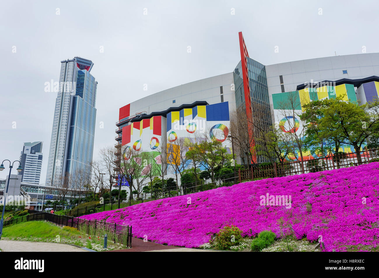 Osaka, APR 29: Cosmo Tower and ATC Shopping Mall with purple flowers blossom on APR 29, 2011 at Osaka, Japan - Stock Image
