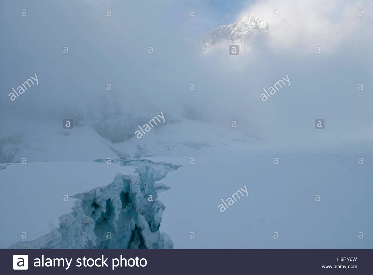An ice fissure in the Himalaya Mountains. - Stock Image