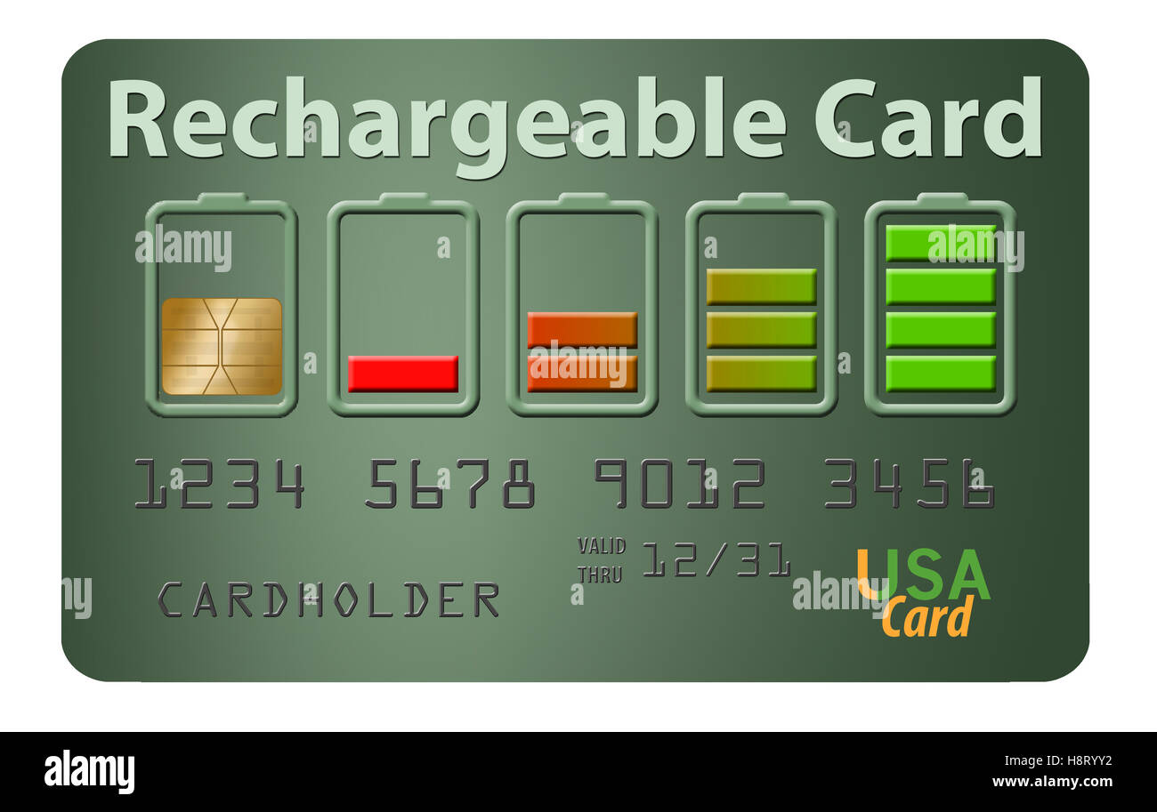 Rechargeable credit card with battery icons to illustrate rechargeable idea. Its a card isolated on white. - Stock Image