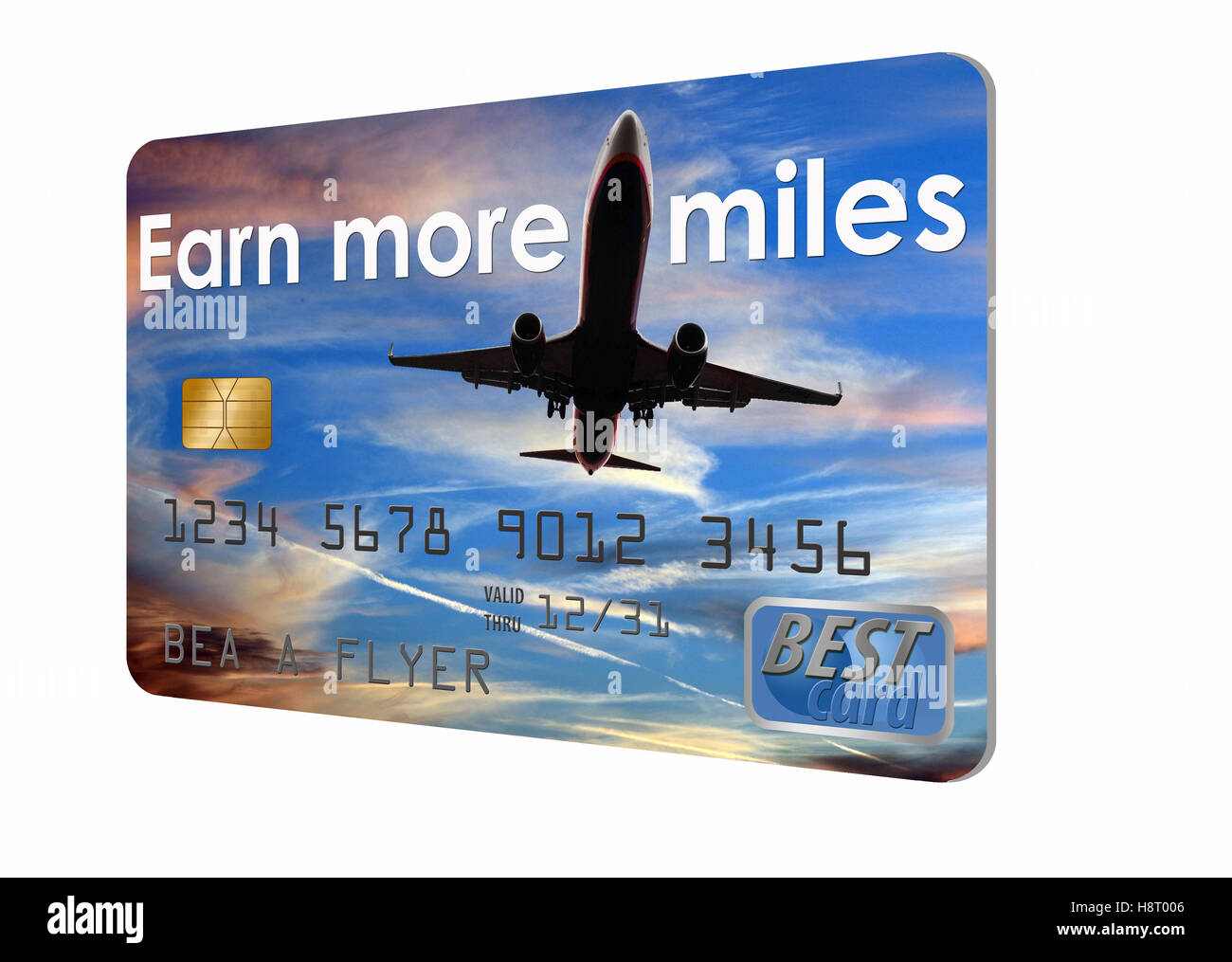Earn more miles credit card with an airplane in the sky design. Debit card or credit card. Isolated on a white background. - Stock Image