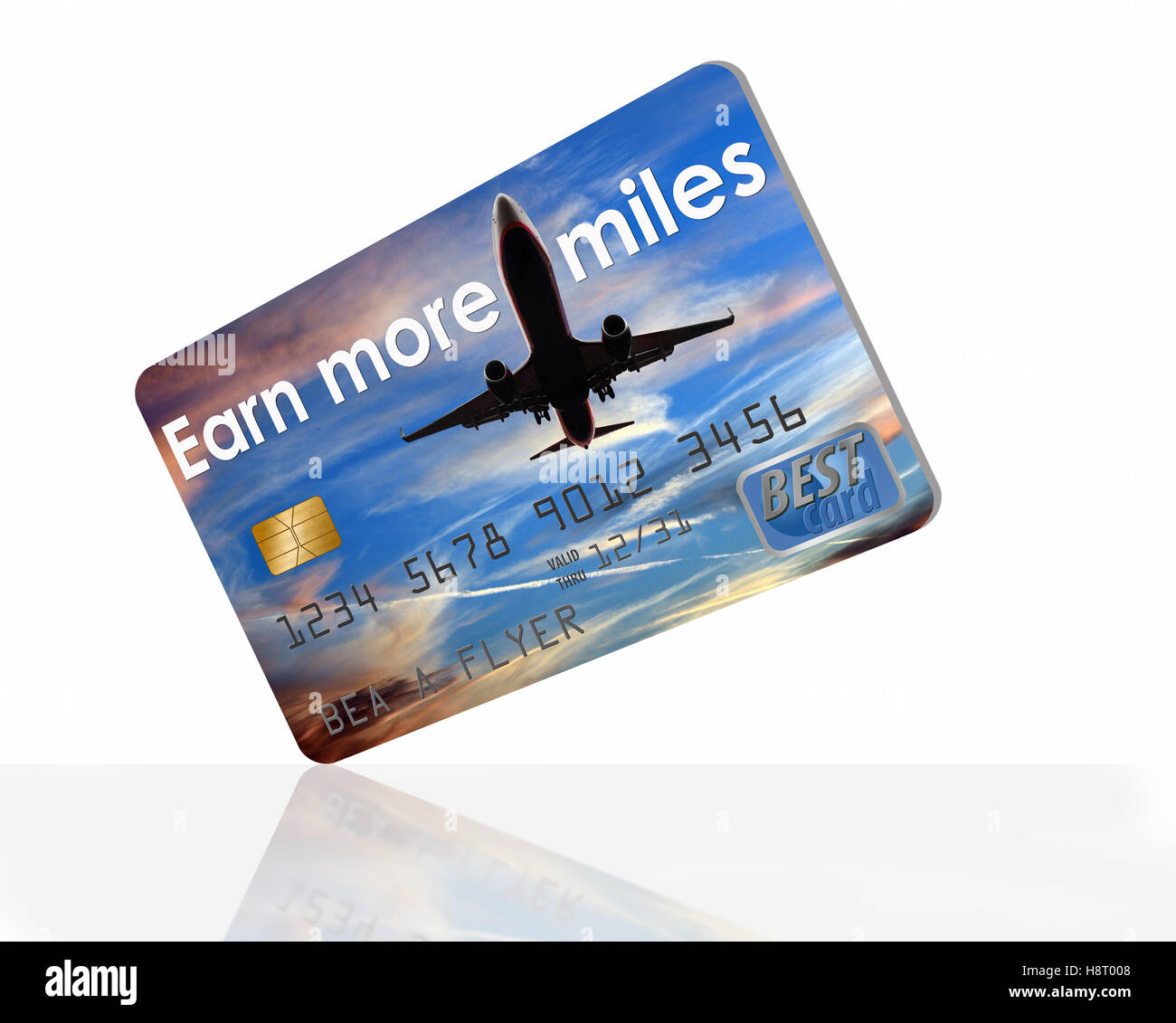 Earn more miles credit card with an airplane in the sky design. Debit card or credit card - Stock Image