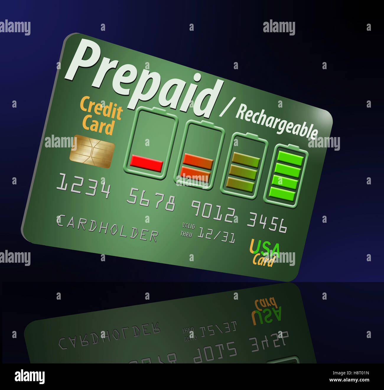 Prepaid, rechargeable credit card to help someone establish a credit history. - Stock Image