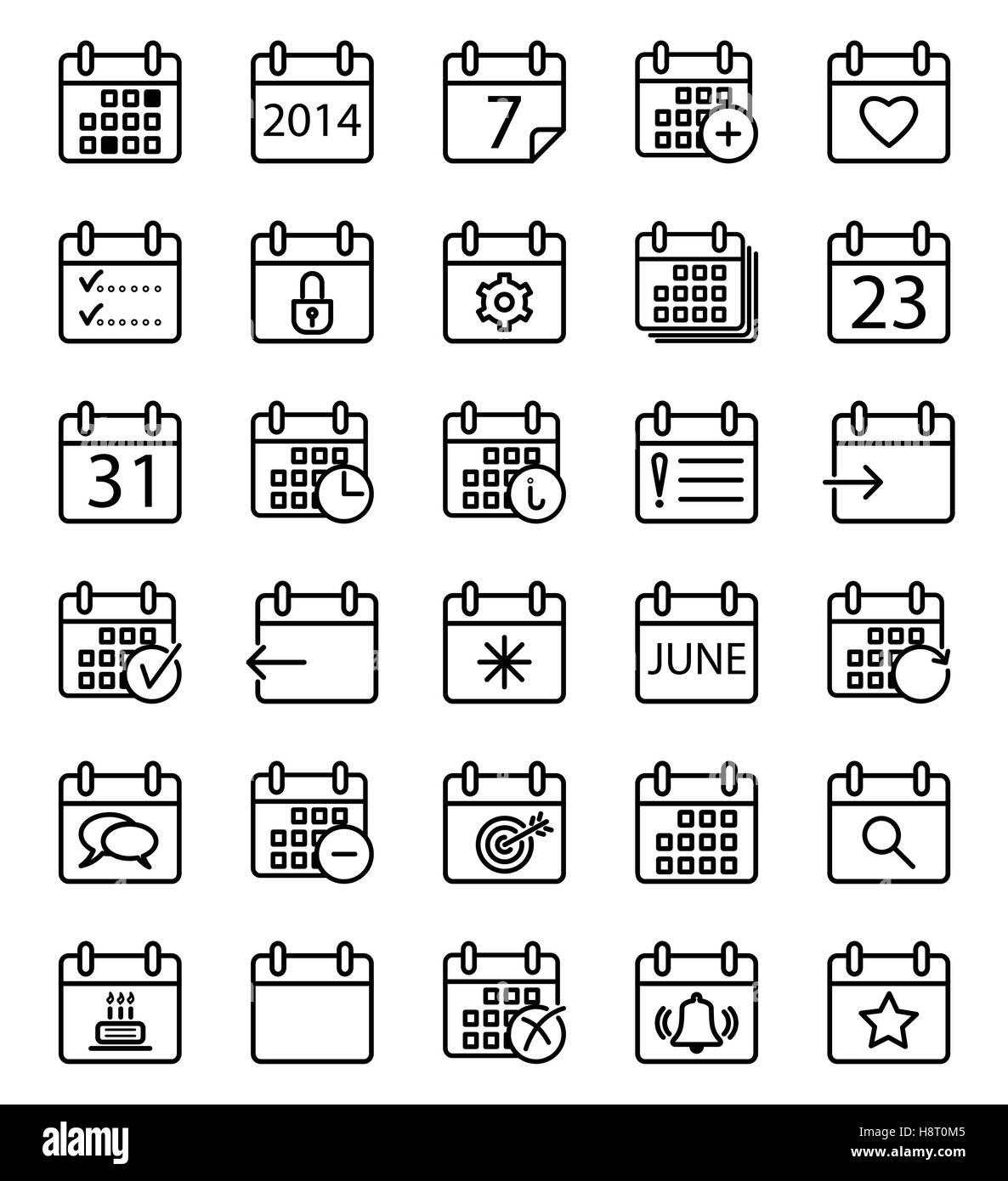 Calendar stroke icons set. Vector illustration. Stock Vector