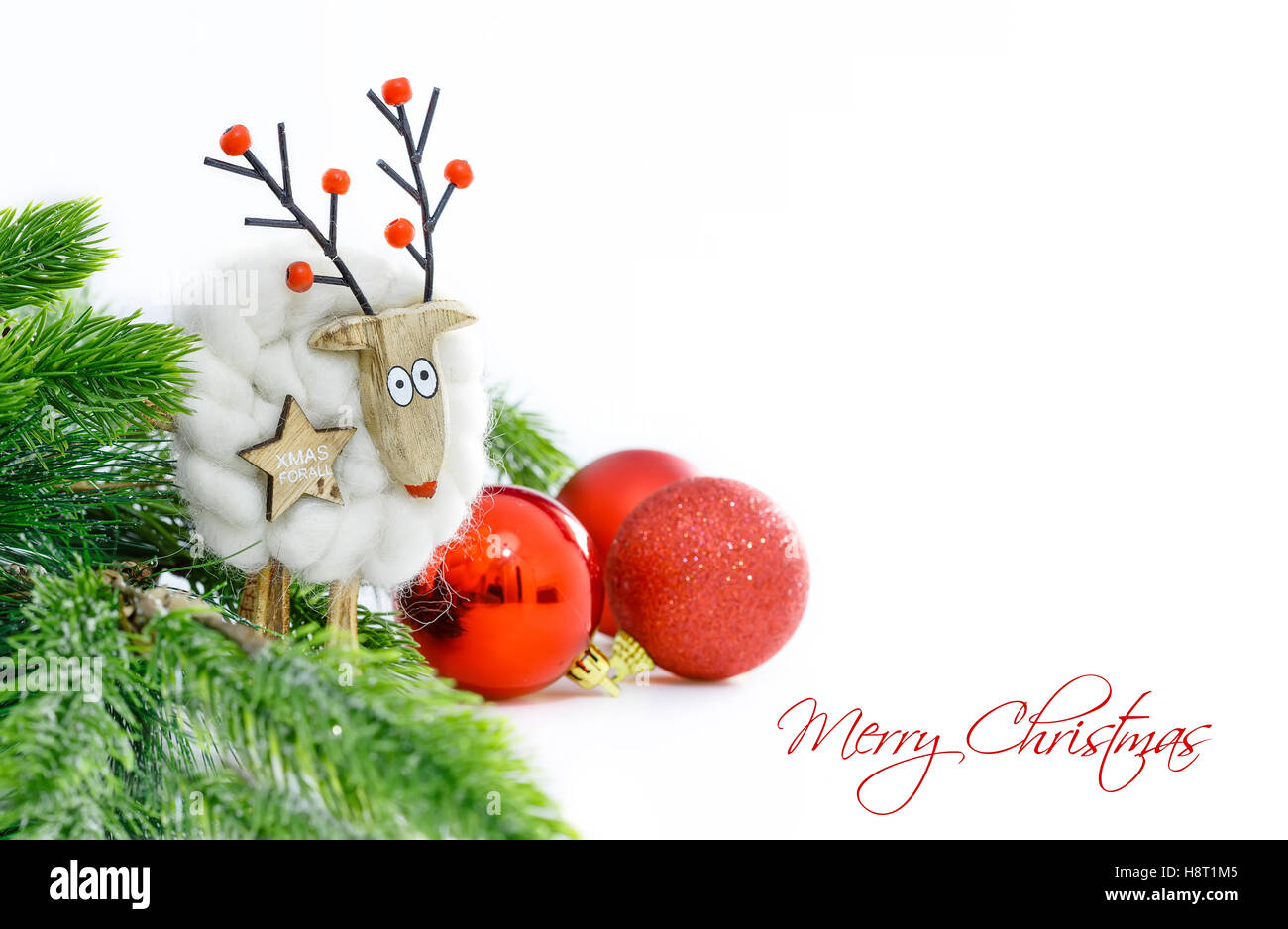 Christmas ornaments on white background. Funny christmas card. Space ...