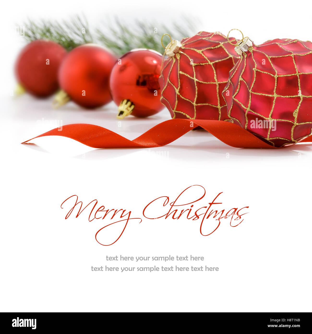Red Christmas Balls On White Background Merry Christmas Card Stock