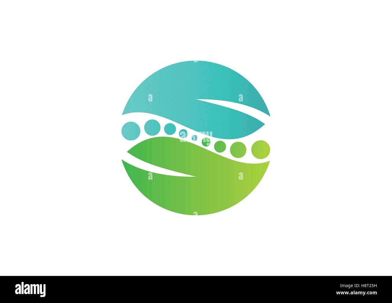 circle leaves ideas logo, ecology symbol, spa icon vector design template, global spine natural balance design - Stock Vector