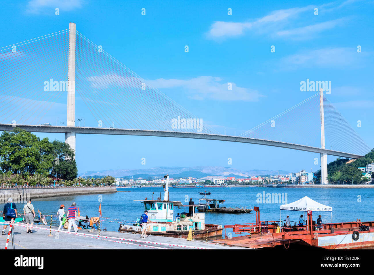 Bai Chay Bridge Three Gorge, Halong Bay, Vietnam, Indochina, Asia - Stock Image