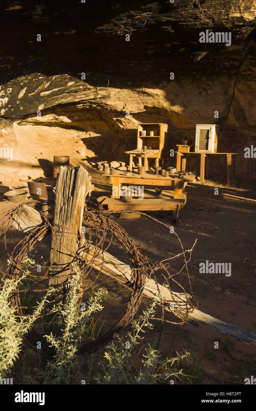Utah, Canyonlands National Park, Needles District, Cave Spring Cowboy Camp - Stock Image