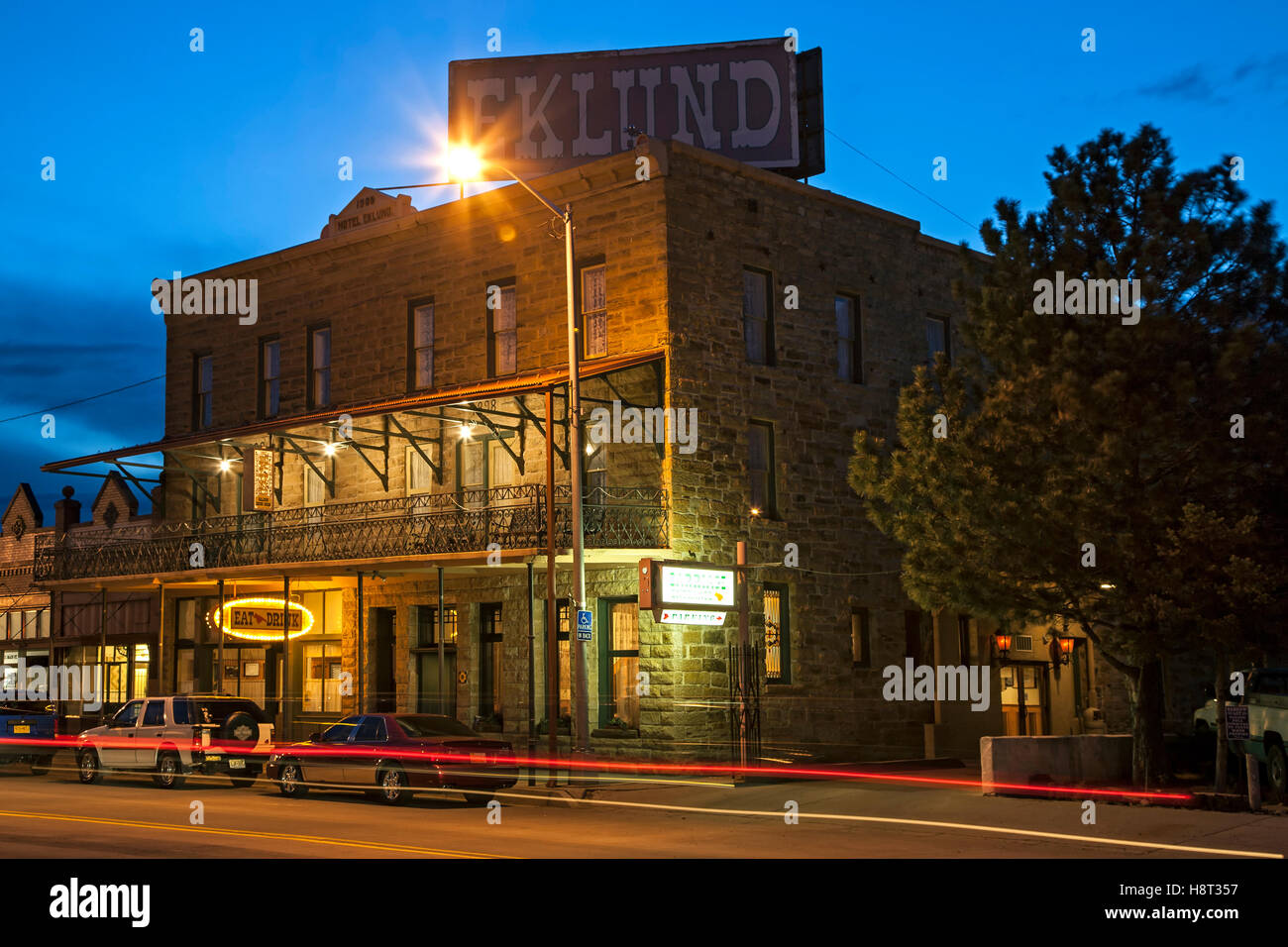 Historic Eklund Hotel (1905) and light streaks, Clayton, New Mexico USA - Stock Image