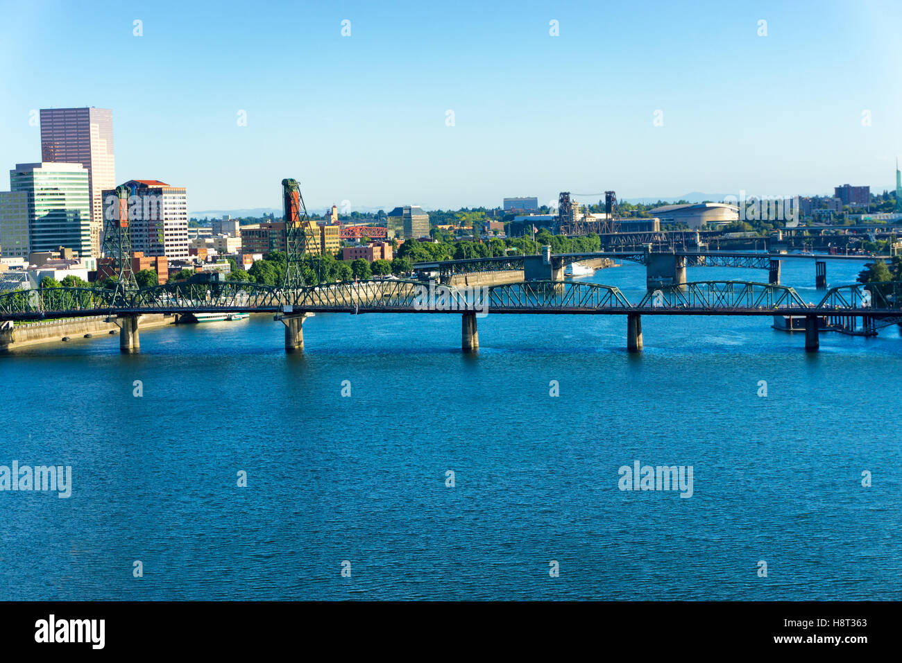 View of bridges and downtown Portland, Oregon - Stock Image