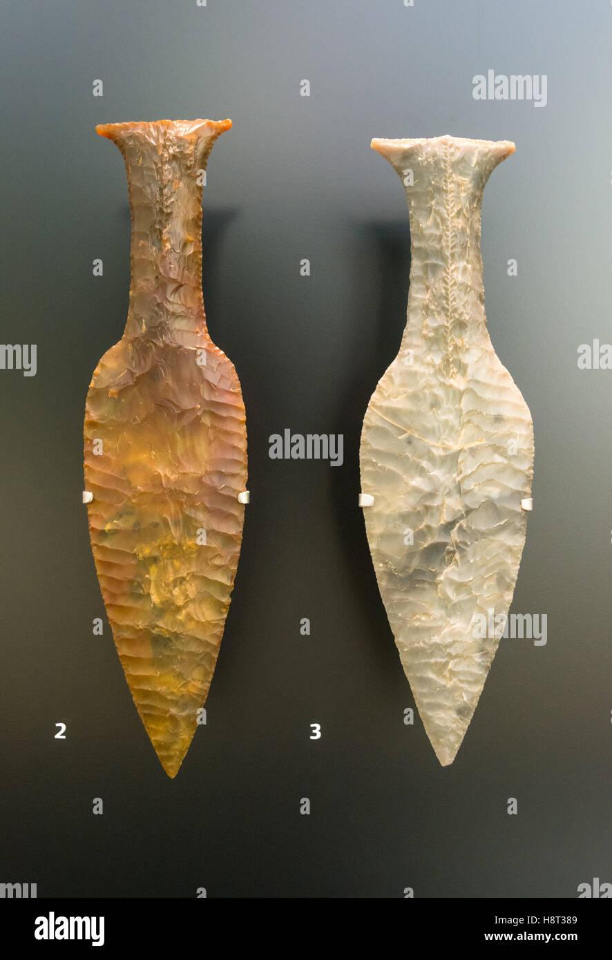 Flint daggers from Norre Snede, Jutland (2) Krabbesholm, Zealand (3), National Museum of Denmark in Copenhagen, - Stock Image