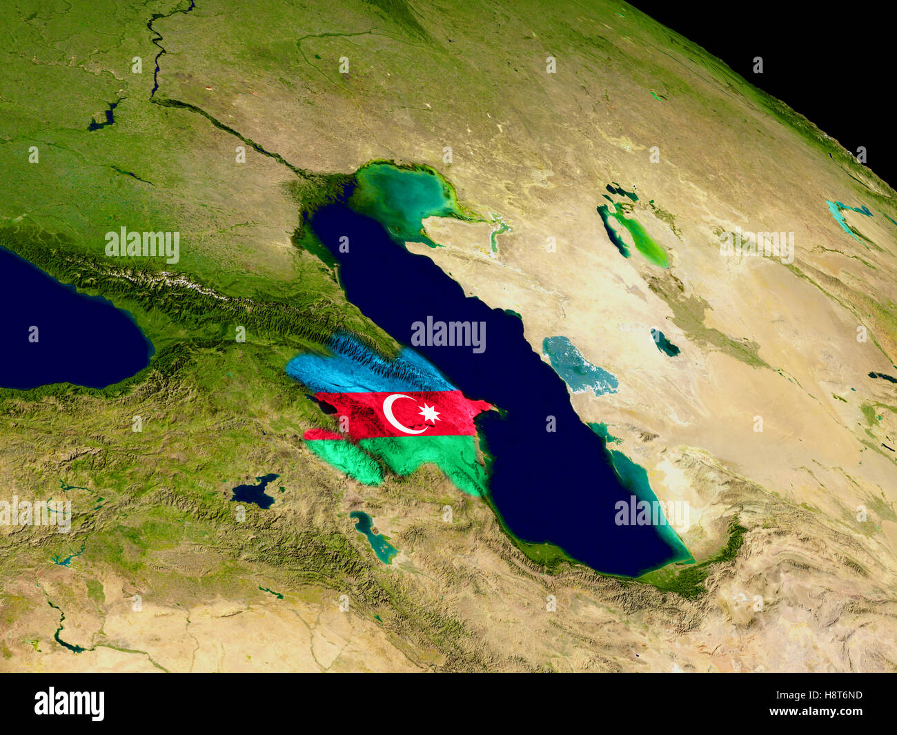 Map Of Azerbaijan With Embedded Flag On Planet Surface 3d Stock Photo Alamy