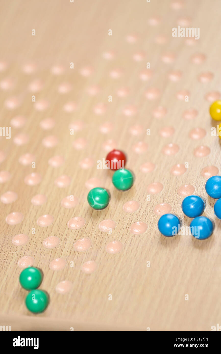 Close up of Chinese checkers board - Stock Image