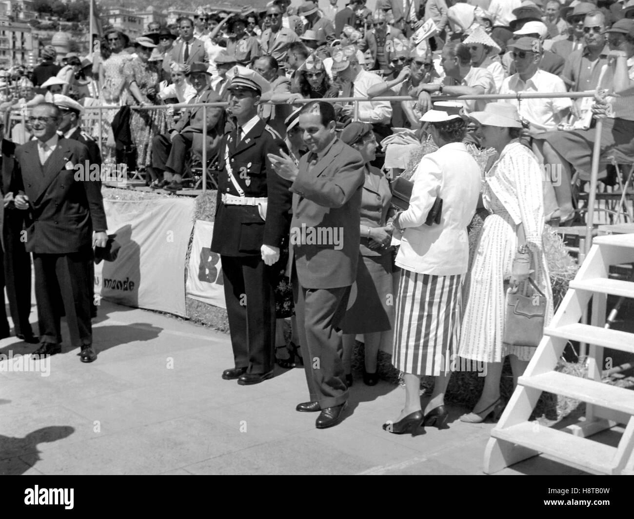 1955 MONACO GP MYSTERY CELEB - Stock Image