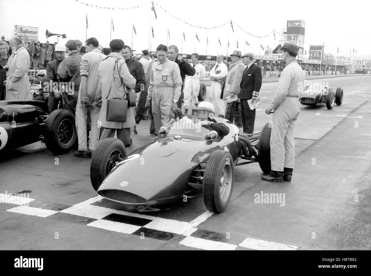 1961 GOODWOOD ICF TONY BROOKS BRM P48 GRID - Stock Image
