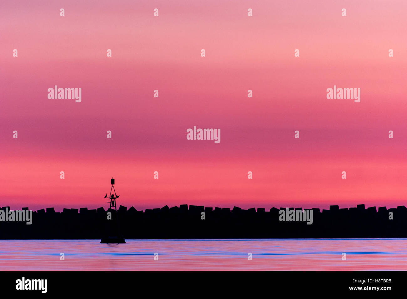 Magenta sunset with birds perched on a lighthouse - Stock Image