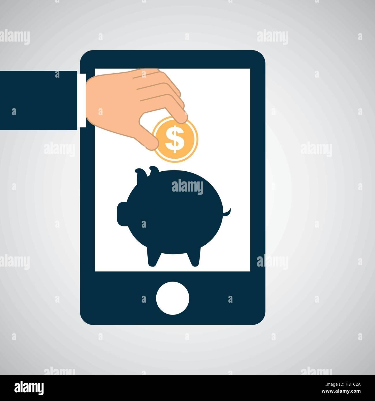 concept saving piggy coin money vector illustration eps 10 - Stock Image