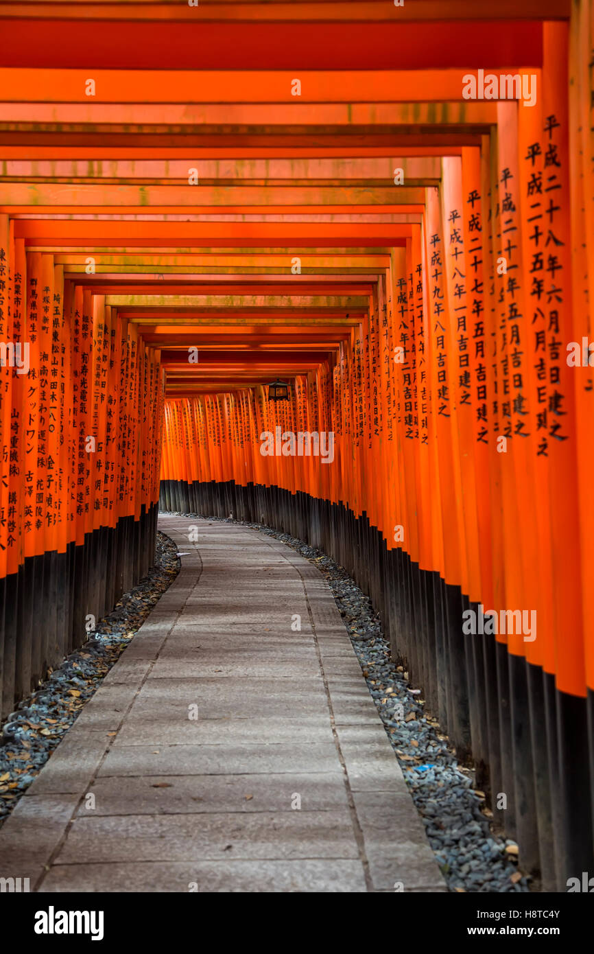 Walkway in Fushimi Inari shrine in Kyoto, Japan - Stock Image