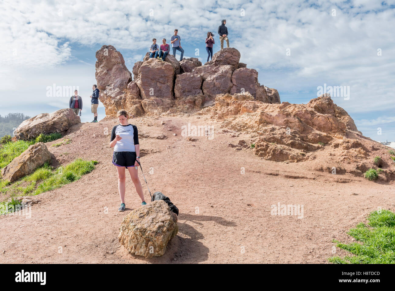 Sightseers at Corona Heights Park, San Francisco, California, USA - Stock Image