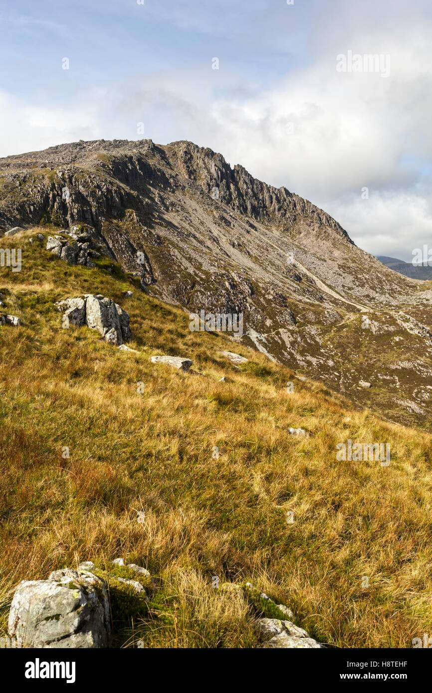 The grade 1 scramble Bristly ridge climbing up from Bwlch Y Tryfan, Snowdonia - Stock Image