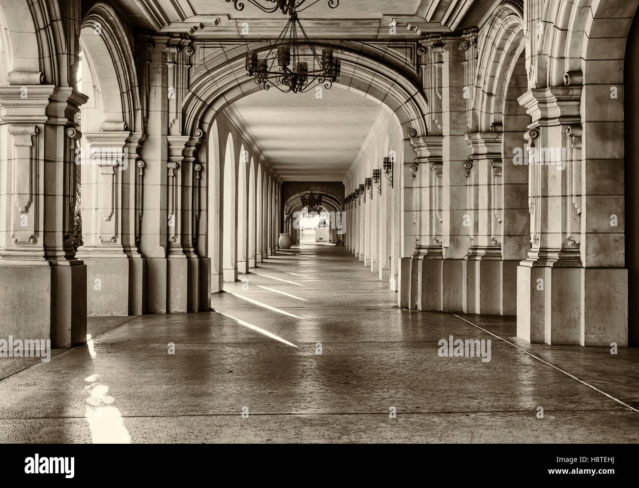 Historic architecture and walkway at Balboa Park. San Diego, California, United States. Stock Photo