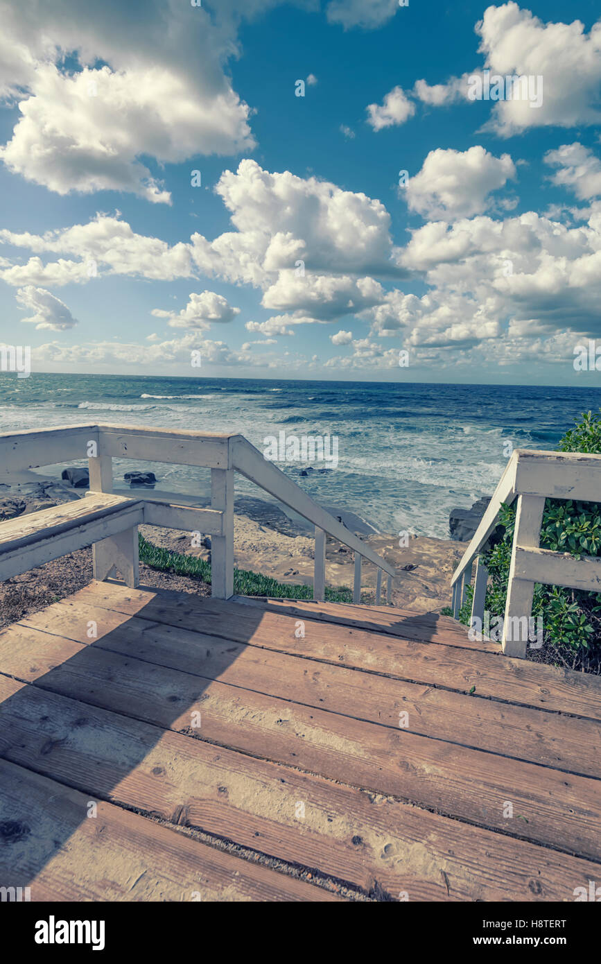 Ocean view from the top of the stairs at Windansea Beach, La Jolla, California, USA. - Stock Image