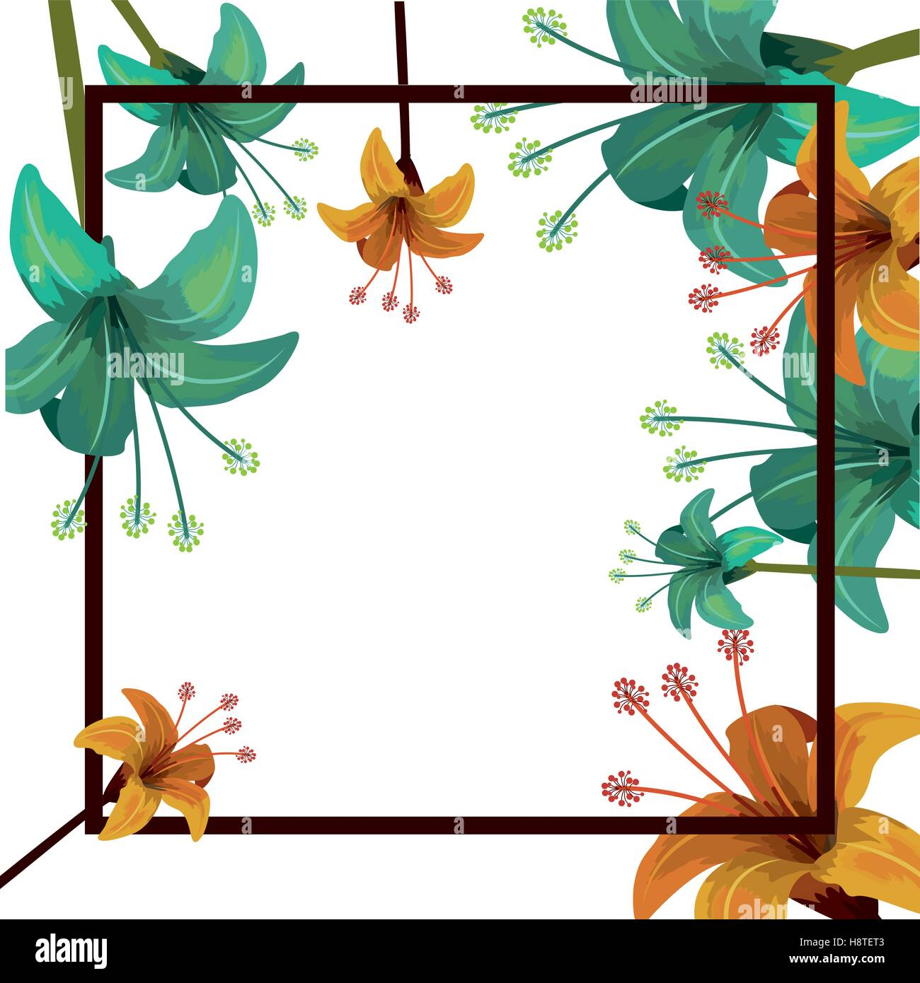 Flowers Frame Icon Decoration Garden Floral Nature Plant And Spring